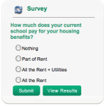 New Survey: How much does your current school pay for your housing benefits?