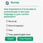 New Survey: How important is it to be able to communicate in the local language in your current placement?