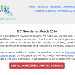 March 2016 Newsletter: 40 Recently Updated Schools